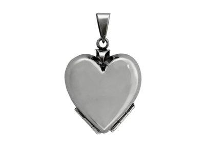 Zilveren Foto medaillon Hart glad ketting hanger