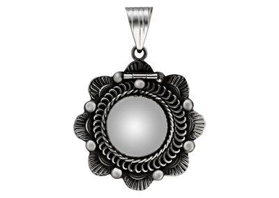 Zilveren Foto medaillon Bloem fantasie ketting hanger