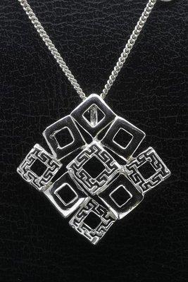 Zilveren Carré design ketting hanger