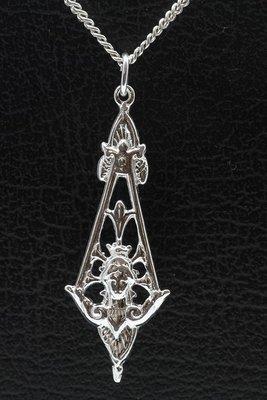 Zilveren Jugendstill - Art Deco - Pendel vrouwengezicht ketting hanger