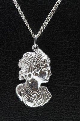 Zilveren Jugendstill - Art Deco - Vrouwentorso ketting hanger