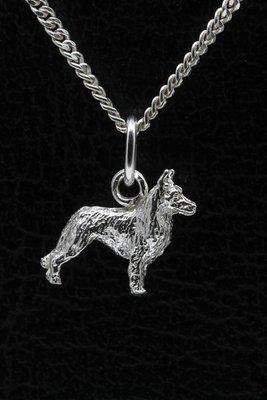 Zilveren Amerikaanse Canadese herder ketting hanger - klein