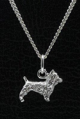 Zilveren Australische silky terrier ketting hanger - klein