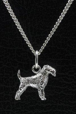 Zilveren Airedale terrier ketting hanger - klein