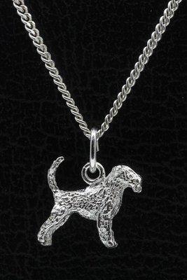 Zilveren Airedale terrier met staart ketting hanger - klein