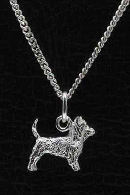 Zilveren Australische silky terrier met staart ketting hanger - klein