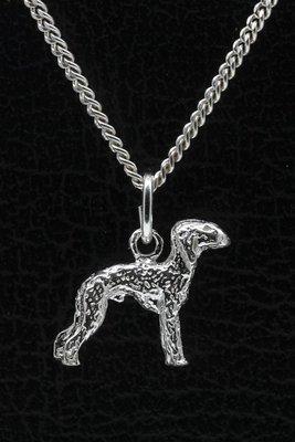 Zilveren Bedlington terrier ketting hanger - klein