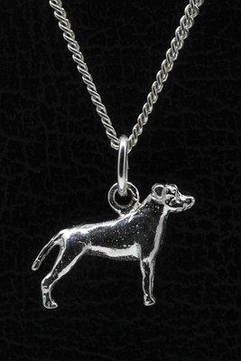 Zilveren Amerikaanse staffordshire terrier oren gecoupeerd ketting hanger - klein