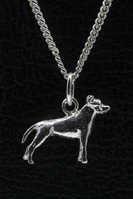 Zilveren Amerikaanse staffordshire terrier oren ongecoupeerd ketting hanger - klein