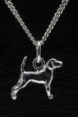 Zilveren Beagle ketting hanger - klein