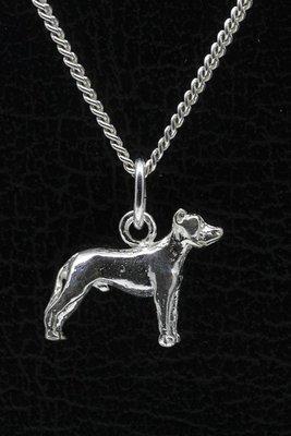 Zilveren Argentijnse dog oren gecoupeerd ketting hanger - klein