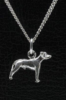 Zilveren Argentijnse dog oren ongecoupeerd ketting hanger - klein