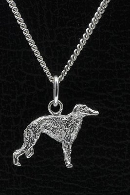 Zilveren Barzoi ketting hanger - klein