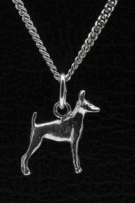 Zilveren Amerikaanse toy terrier ketting hanger - klein