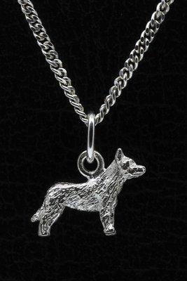 Zilveren Australische veedrijvershond ketting hanger - klein