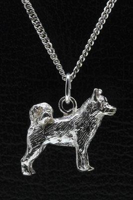 Zilveren Alaska malamute ketting hanger - groot