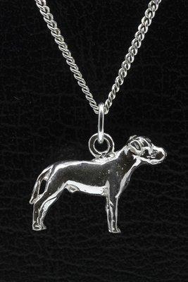 Zilveren Amerikaanse bulldog ongecoupeerd met staart ketting hanger - groot