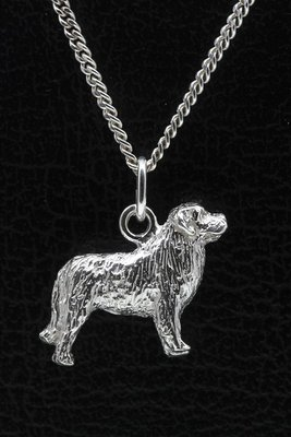 Zilveren Berner sennenhond ketting hanger - groot