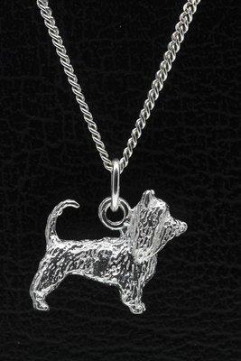 Zilveren Australische silky terrier met staart ketting hanger - groot