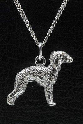Zilveren Bedlington terrier ketting hanger - groot