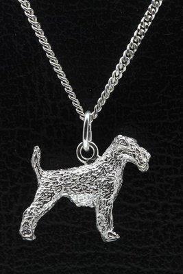 Zilveren Airedale terrier ketting hanger - groot