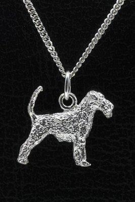 Zilveren Airedale terrier met staart ketting hanger - groot