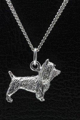 Zilveren Australische (silky) terrier ketting hanger - groot