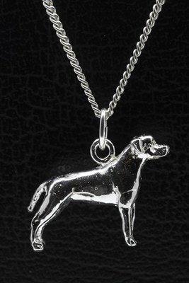 Zilveren Amerikaanse pitt bull terrier oren ongecoupeerd ketting hanger - groot