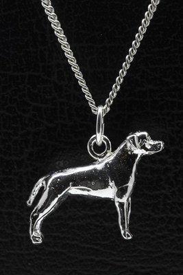 Zilveren Amerikaanse staffordshire terrier oren gecoupeerd ketting hanger - groot