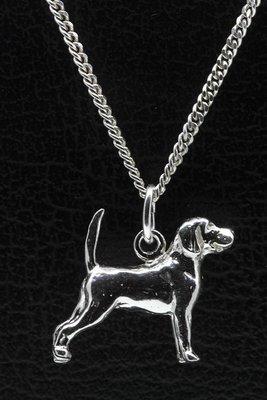Zilveren Beagle ketting hanger - groot