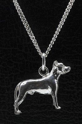 Zilveren Argentijnse dog oren gecoupeerd ketting hanger - groot