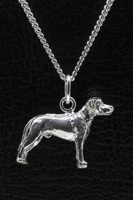 Zilveren Argentijnse dog oren ongecoupeerd ketting hanger - groot