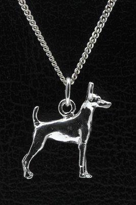 Zilveren Amerikaanse toy terrier ketting hanger - groot