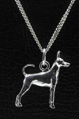 Zilveren Amerikaanse toy terrier met staart ketting hanger - groot