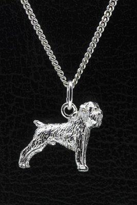 Zilveren Affenpinscher ketting hanger - groot