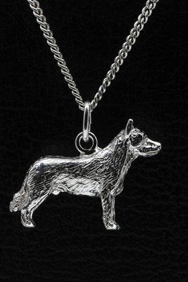 Zilveren Australische veedrijvershond ketting hanger - groot