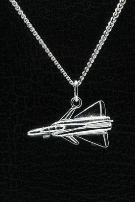 Zilveren Straaljager ketting hanger