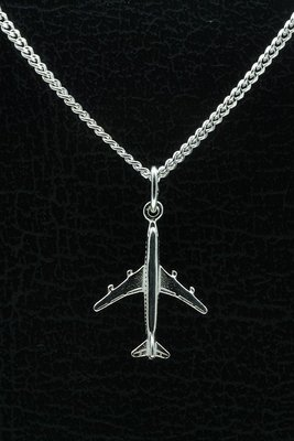 Zilveren Vliegtuig ketting hanger - klein