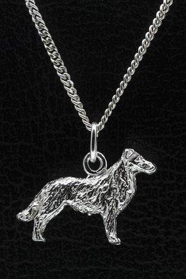 Zilveren Australische shepherd met staart ketting hanger - groot