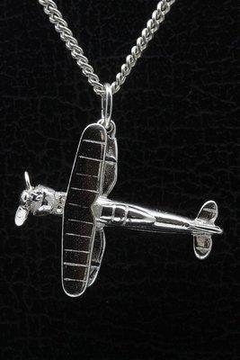 Zilveren Dubbeldekker vliegtuig ketting hanger