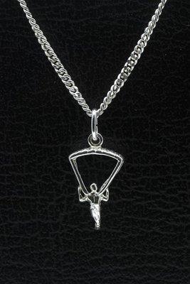 Zilveren Parachutist ketting hanger - klein