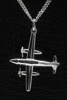 Zilveren Propeller vliegtuig ketting hanger