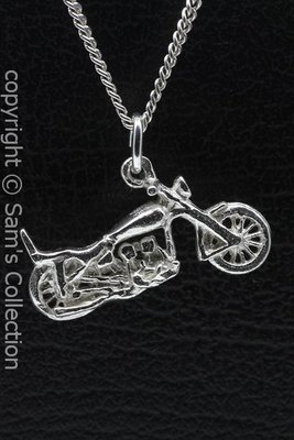 Zilveren Harley motor met recht stuur ketting hanger