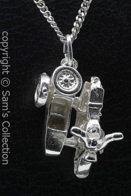 Zilveren Motoguzzi motor zijspan ketting hanger