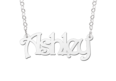 Zilveren Naamketting lettertype Ashley