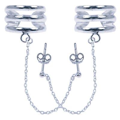 Zilveren 3 ringen met ketting Oorklem