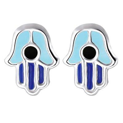 Zilveren Fatima hand blauw oorstekers oorknoppen