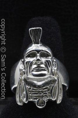 Zilveren Mohikaan indiaan ring