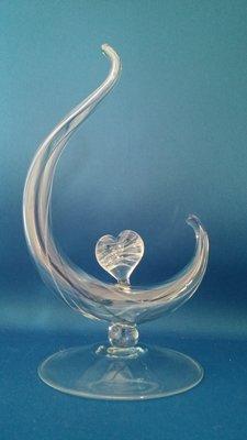 As & herdenking standaard met hartje in glas hand geblazen