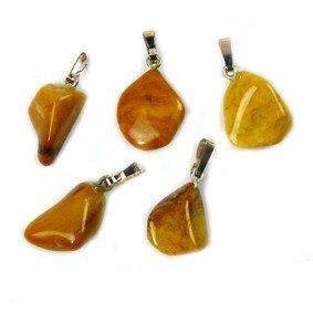 Jaspis geel edelsteen ketting hanger rvs